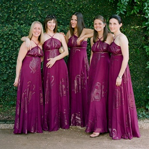 Magenta and Gold Bridesmaid Dresses