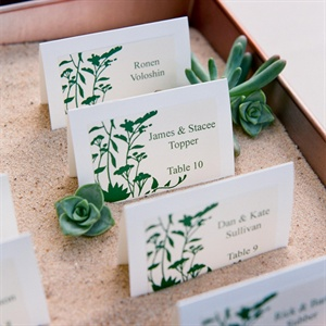 Green and White Escort Cards