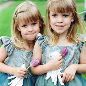 Teal Damask Print Flower Girl Dresses