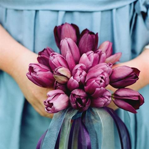 purple tulip bridesmaid bouquets