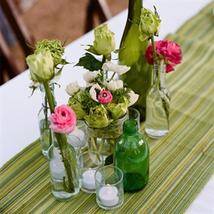 Floral Arrangements in Recycled Bottles