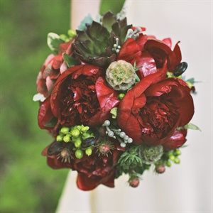Succulent and Rich Red Peony Bridal Bouquet