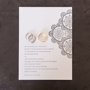 Modern Floral Letterpress Invitations