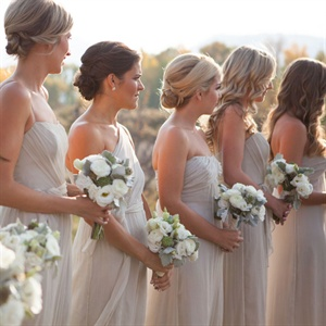 Champagne Colored Amsale Bridesmaid Gowns