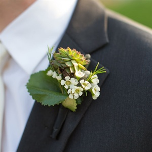 Succulent and Wax Flower Boutonniere