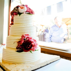 Pink and White Buttercream Wedding Cake