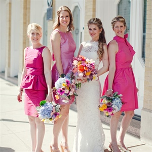 Pink, Cocktail-Length Bridesmaid Dresses