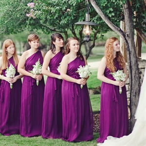 One-Shoulder Amsale Eggplant Bridesmaid Dresses