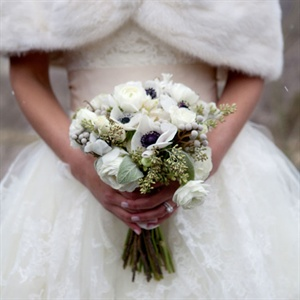 White Ranunculus and Anemone Bridal Bouquet