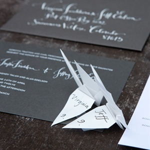 Gray Invitations with White Calligraphy