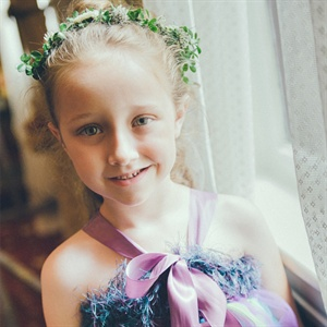 Purple and Blue Flower Girl Dress
