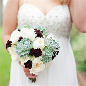 Succulent and Garden Rose Bridal Bouquet