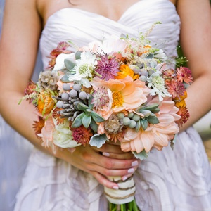 Muted Peach and Green Bridal Bouquet