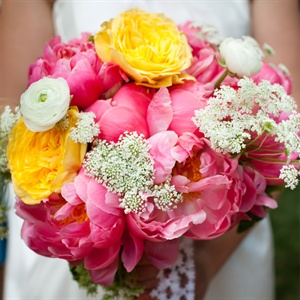 Coral and Yellow Bridal Bouquet