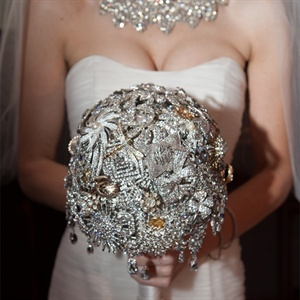Silver and Gold Brooch Bridal Bouquet