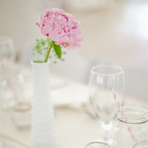 Pink Peony and Milk Glass Centerpieces