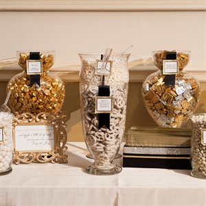 Gold, Silver and White Candy Buffet