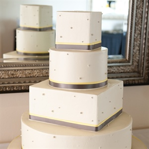 Yellow and Gray Wedding Cake