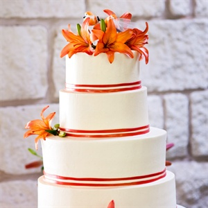 Tiger Lily Topped Wedding Cake