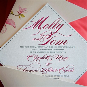 Diamond Shaped Wedding Invitation