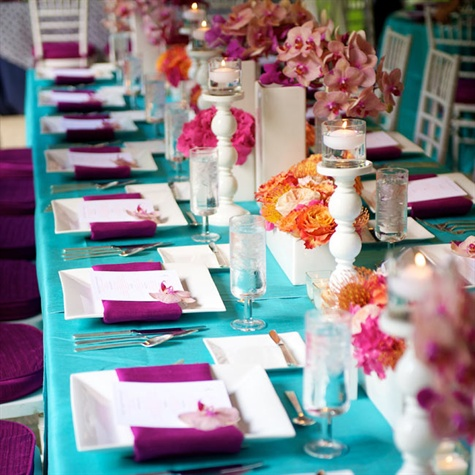 Aqua and Raspberry Reception Table