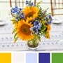 Yellow, White, Light Blue, Royal Blue, Green Color Palette