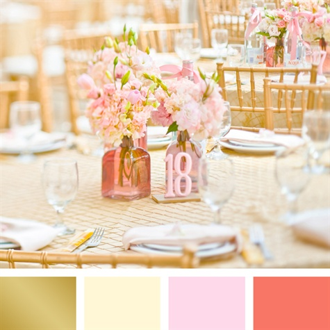 Gold, Ivory, Blush and Coral Color Palette