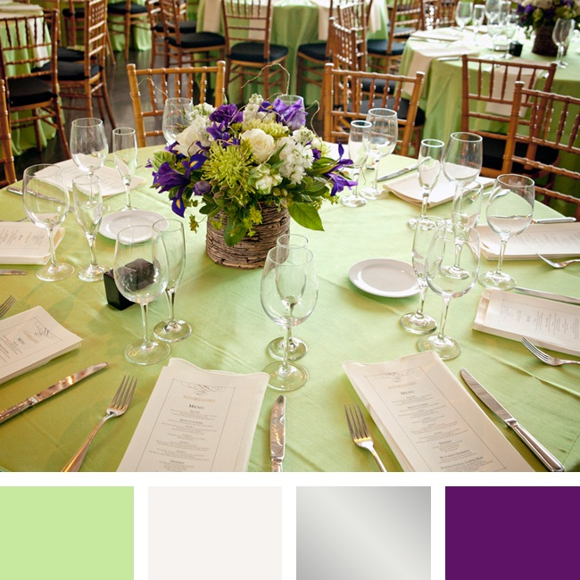 Mint Green Wedding Decoration Ideas: Mint Green, Silver And Purple Color Palette
