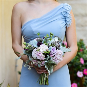 Light Blue and Purple Bridesmaid Bouquet