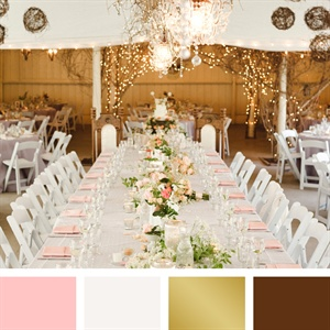 Light Pink, White, Gold and Brown Color Palette