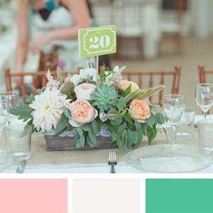 Light Pink, White and Green Color Palette