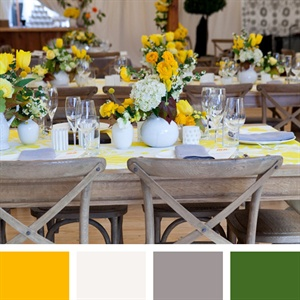 Saffron, White, Gray, Green Color Palette
