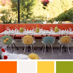 Orange, White, Yellow, Apple Green Color Palette