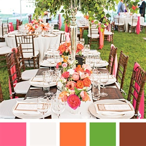 Pink, Orange, Green and Brown Color Palette