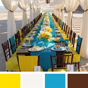 Yellow, White, Sky Blue, Brown Color Palette