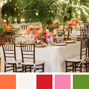 Orange, White, Red, Pink, Green Color Palette