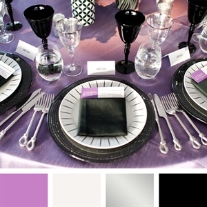 Mauve, White, Silver, Black Color Palette
