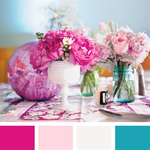 Fuchsia, Light Pink, White and Teal Color Palette