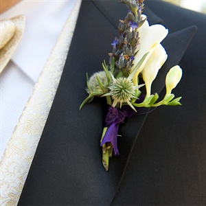 Purple and Ivory Boutonniere