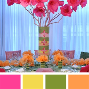 Pink, Yellow, Green and Peach Color Palette