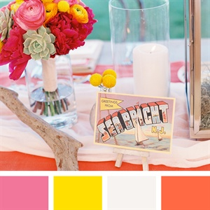 Pink, Yellow, White and Tangerine Color Palette
