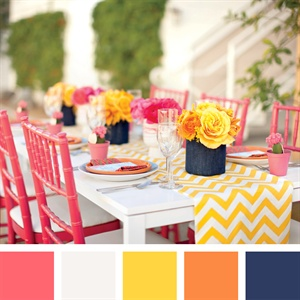 Coral, Yellow, Tangerine and Purple Color Palette