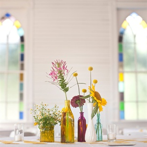 Colored Bottles Centerpiece