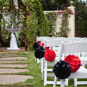 Red and Black Paper Pomander Ceremony Decor