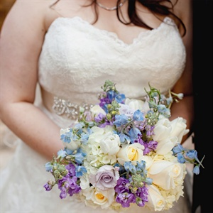 Purple and Blue Accented Bridal Bouquet