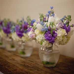 Ivory, Blue and Purple Bridesmaid Bouquets