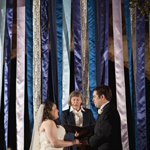 Blue and Purple Streamer Ceremony Decor
