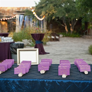 Handwritten Purple Escort Cards