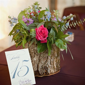 Rustic Bark and Floral Centerpiece