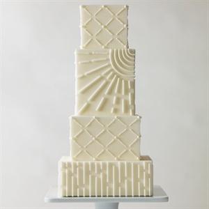Asymmetrical Modern White Cake